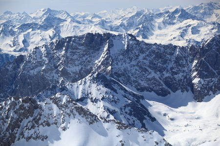 zugspitze mountain: Winter snow covered mountain Zugspitze in Germany Europe. Great place for winter sports