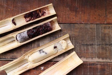 thailand bamboo: Thai food Glutinous rice roasted in bamboo name is khoalam