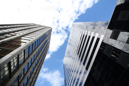 directly below: Office buildings stretch up to the blue sky in the financial district in downtown Buenos Aires : Argentina