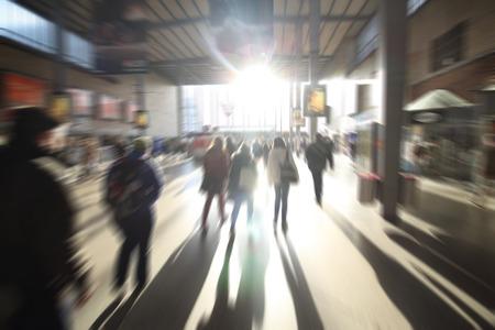 subway platform: Blurred people on subway platform at hofbahnhof germany