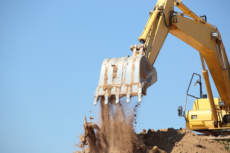excavator in action  on site