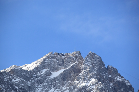 pinnacle: Winter snow covered mountain Zugspitze in Germany Europe. Great place for winter sports