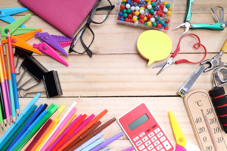School and office stationary on wood table .  Back to school concept Stock Photo