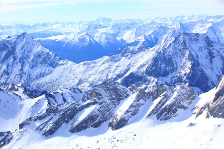 snow covered mountain: Winter snow covered mountain Zugspitze in Germany Europe. Great place for winter sports