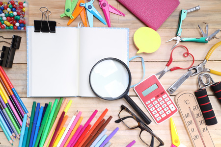 stationary: School and office stationary on wood table .  Back to school concept Stock Photo