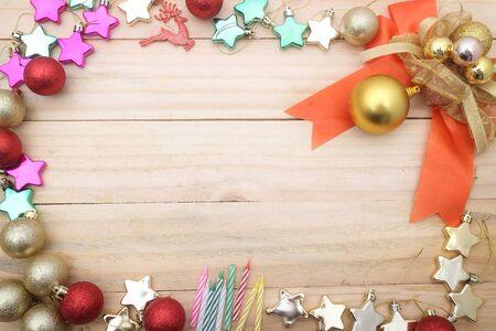 christmas backgrounds: Christmas backgrounds. Christmas decor on the wooden background. Stock Photo