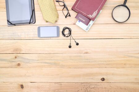 men's clothing: Set of mens clothing and accessories on wooden table. Outfit of business man. Stock Photo