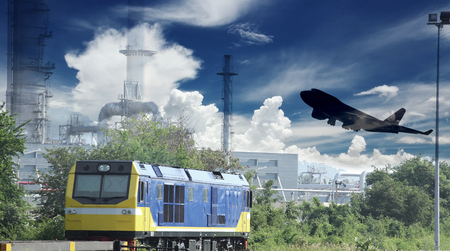 land use: industry container trains running on railways track and commercial ship in port ,plane air cargo flying above use for land ,air ,and vessel transport industry and logistic business