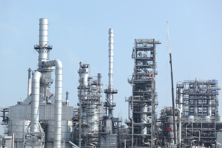 oil refinery industry in metallic color style use as metal style of heavy industry background 스톡 콘텐츠