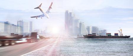 Container truck, schip in de haven en vracht vrachtvliegtuig in het vervoer en de import-export commerciële logistiek, scheepvaart industrie Stockfoto - 46785789