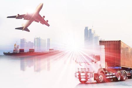 industriales: camión contenedor, barco en el puerto de carga y flete aéreo en el transporte y la logística comercial de importación y exportación, la industria del negocio de envío