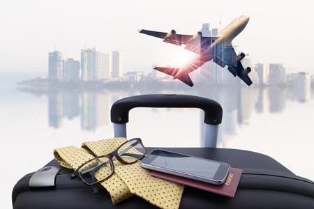 컨셉트 여행, 하늘과 매우 아름다운 여객 비행기, 항공 여행, 여행 및 여행 산업 비즈니스에 사용