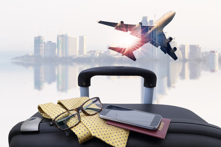 concept travel , passenger plane on sky and very beautiful , use for air transport ,journey and travel industry business