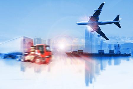 cami�n: cami�n contenedor, barco en el puerto de carga y flete a�reo en el transporte y la log�stica comercial de importaci�n y exportaci�n, la industria del negocio de env�o