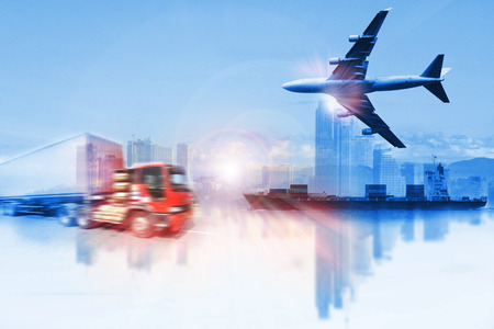 container truck ,ship in port and freight cargo plane in transport and import-export commercial logistic ,shipping business industry