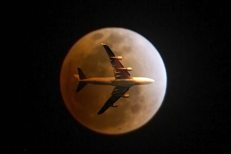 air travel: passenger plane on sky at sunset time very beautiful , use for air transport ,journey and travel industry business Stock Photo