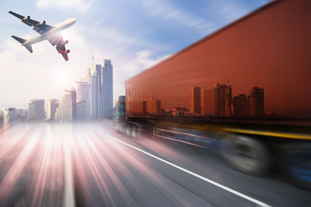 air speed: container truck , freight cargo plane in transport and import-export commercial logistic ,shipping business industry Stock Photo
