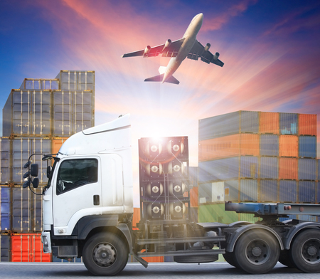 shipping supplies: container truck and freight cargo plane concept of  import-export commercial logistic ,shipping business industry