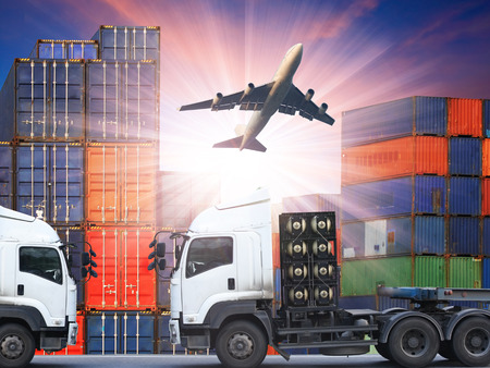 air speed: container truck and freight cargo plane concept of  import-export commercial logistic ,shipping business industry