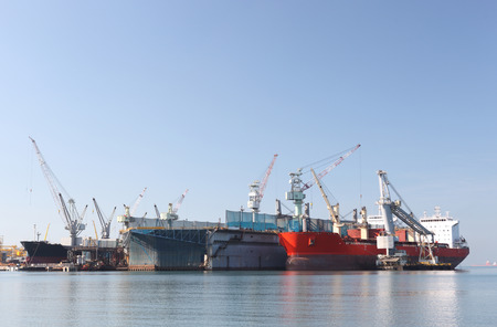ship deck: A large tanker repairs in dock. Shipyard