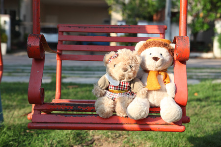 plush toys: Teddy bears sitting  with love. Concept about love and relationship Stock Photo
