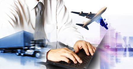 airline airplane flight path travel plans.freight cargo plane in transport and import-export commercial logistic ,shipping business industry 写真素材