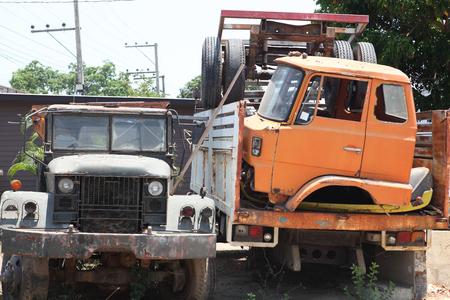 Old cars on junkyard