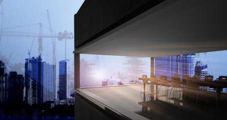 architectural firm: business concept of transparent meeting room  3D Rendering