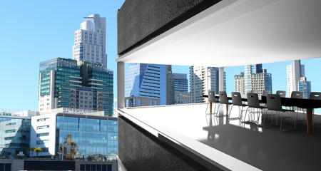 mujer: meeting room and Puerto Madero modern and historic part of the town of Buenos Aires Argentina3D Rendering