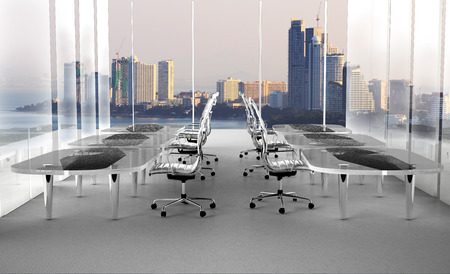 architectural firm: Conference room. Modern office with windows and city view3D Rendering Stock Photo