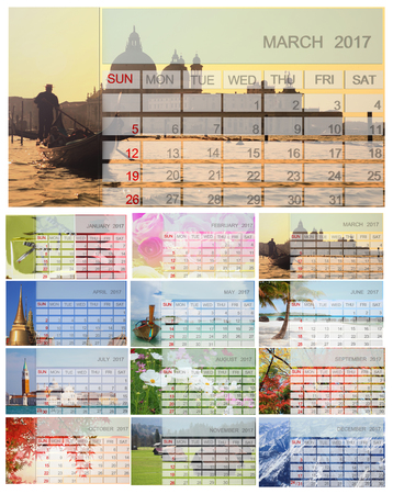 personal data assistant: 2017 Calendar - all season view 3D Rendering
