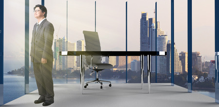 business support: business man and Modern office interior with business desk and furniture,with windows and city view.  Concept of business office room