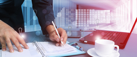 Project Manager Researching Process.Business Team Working Startup modern Office.Global Strategy Virtual Icon.Innovation Graphs Interfaces.Analyze market stock.Blurred Stockfoto