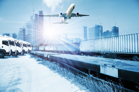 boxcar: container trains ,commercial freight cargo plane flying above use for logistic and transportation industry background Stock Photo