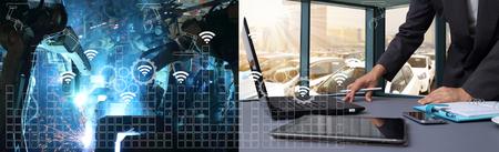 Industrie 4.0-concept .Industry grafische en blauwe toon van automatiseren draadloze robot arm in Automotive industrie productie Stockfoto - 66404872