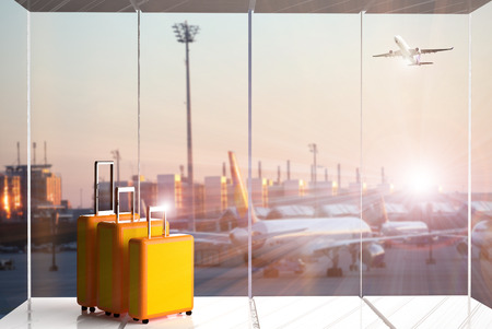 traveling luggage in airport terminal