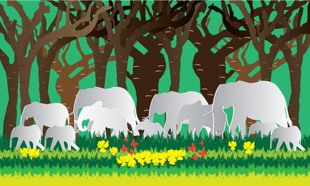 Vector illustration elephant family ,paper art style.
