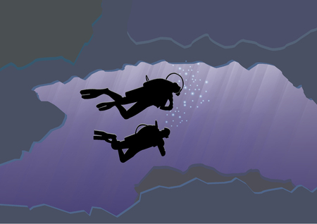 buoyancy: Couple scuba diving, silhouetted against sun and coral reef  on a blue sea. Vector illustration with tropical underwater cave.