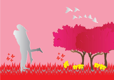 enamored: Vector illustration two enamored under a love tree,paper art style.