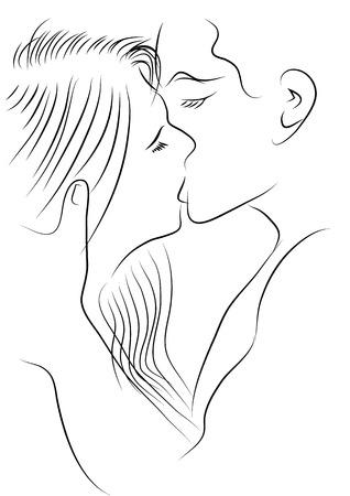 Vecteur de portrait, heureux, couple d'amoureux Banque d'images - 68365750