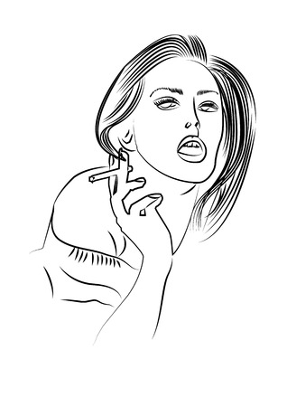 fine art: Fine art portrait of a beautiful lady smokes
