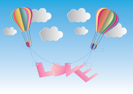 airship: concept of love and valentine day, origami made hot air balloon in a heart shape . paper art and craft style. Illustration