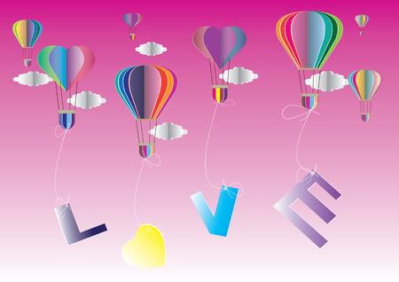 paper craft: concepto de amor y San Valentín día, origami hecha globo de aire caliente en forma de corazón. el arte de papel y el estilo artesanal.