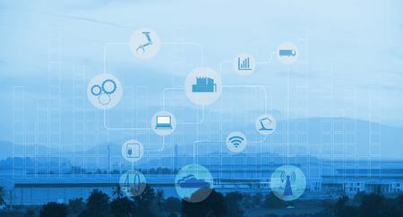 산업 4.0과 스마트 제조 개념입니다. 산업 공장 및 인프라 배경에 산업용 4.0 프로세스 다이어그램.