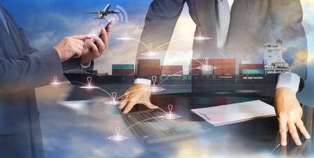 Business handshake, International Container Cargo ship and airplane in the ocean, Freight Transportation, Shipping, Nautical Vessel