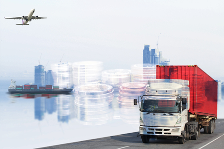 Logistics global transportation concept. Maritime and land transport, air transport use for import export shipping industry  Stock Photo