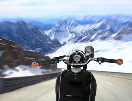 chrome man: Man riding motorcycle. Rider driving motorcycle on a rural road in a mountains
