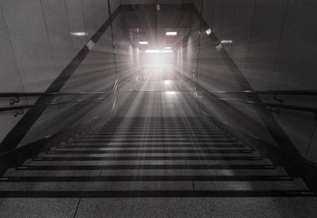 Stairs leading out of  subway to the city. Concept of success.