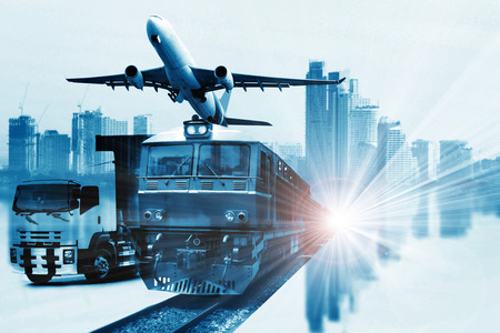 Global business connection  global partner  of Container Cargo freight train for logistic import export, Business logistics concept , Air cargo trucking , rail transportation ,  On-time delivery  Stock Photo
