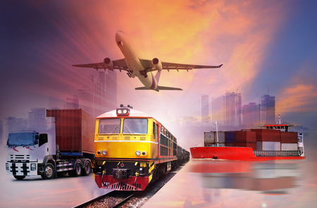 Global business of Container Cargo freight train for logistic import export, Business logistics concept ,  Air cargo trucking , rail transportation , maritime shipping , On-time delivery  Stock Photo